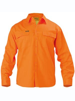 Hi Vis Mens Drill Shirt - Long Sleeve