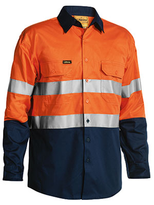 3M Taped Two Tone Hi Vis Cool Lightweight Mens Shirt - Long Sleeve