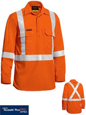TenCate Tecasafe® Plus Taped hi Vis Closed Front Lightweight FR Shirt - Long Sleeve